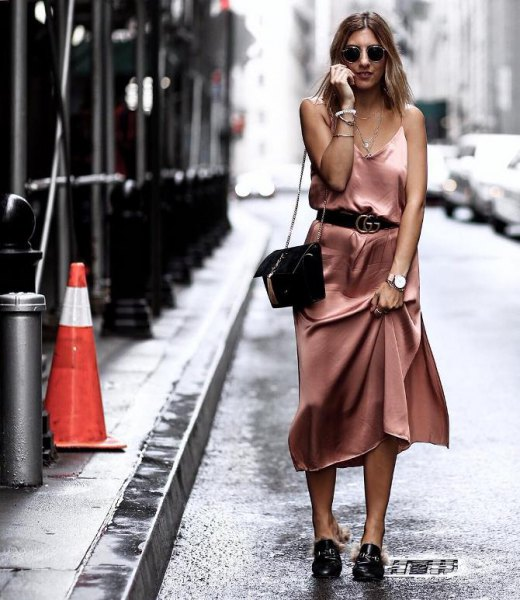 rose gold belted maxi slip dress