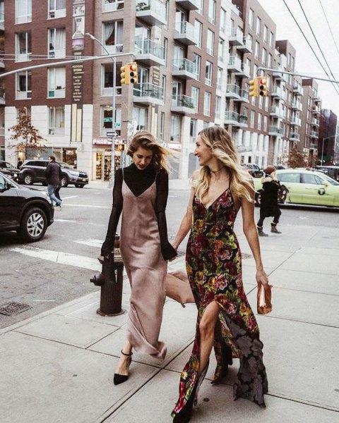rose gold maxi slip silk dress with black turtleneck knit sweater