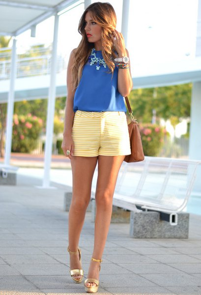 royal blue chiffon vest top with yellow and white striped shorts