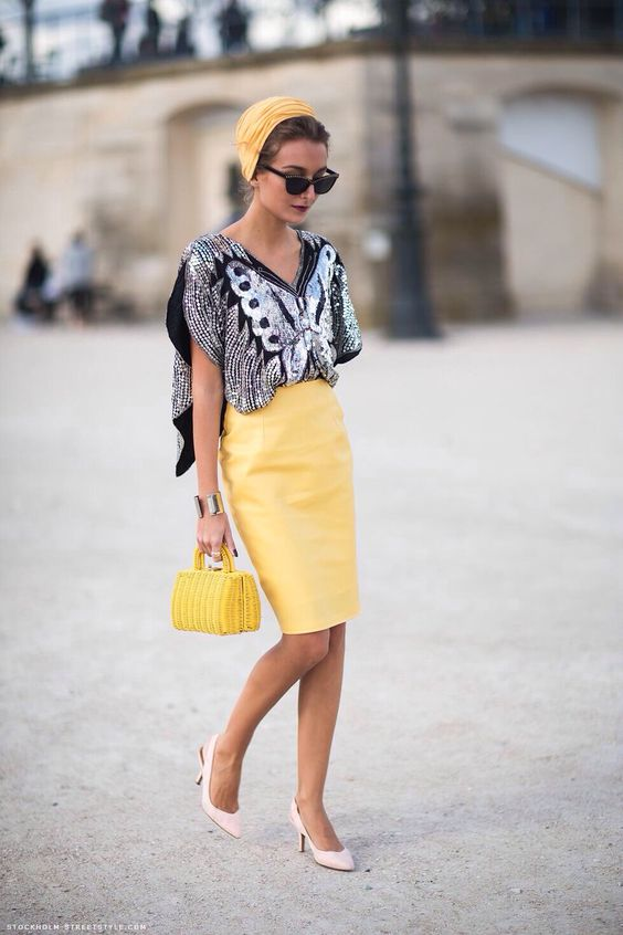 sequined crop top yellow