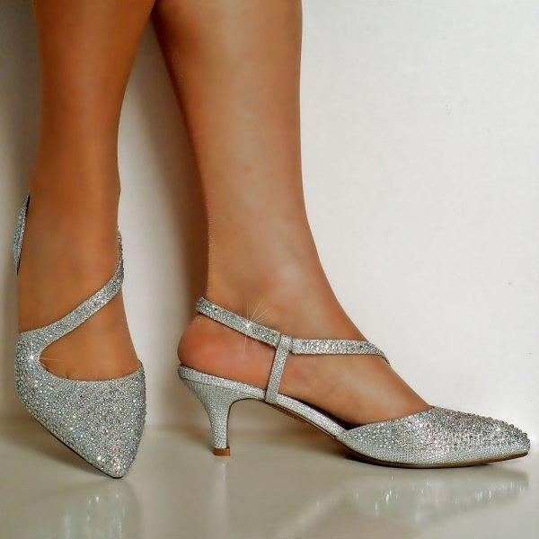 silver asymmetric sequin kitten heels with blue cocktail dress