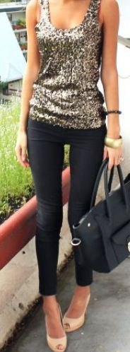 silver sequin scoop neck vest top with black skinny jeans