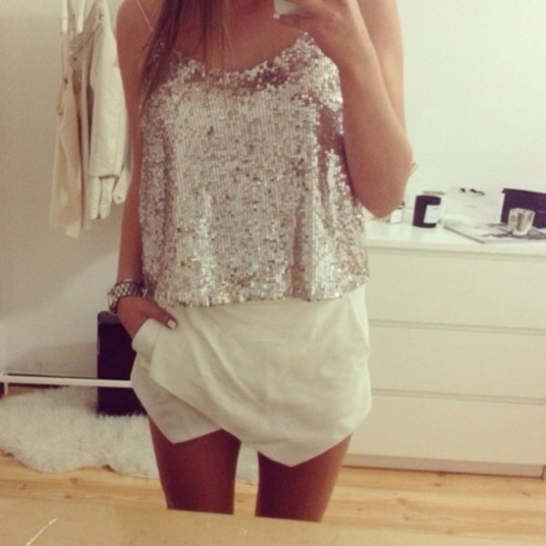 silver sequin vest top with white skort