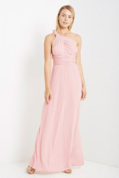 single strap halter gathered waist maxi blush dress