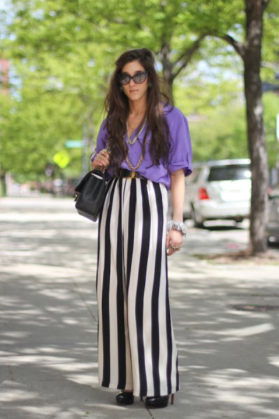 sky blue blouse with black and white stripe wide leg pants