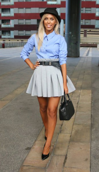 sky blue button up shirt with grey pleated mini skater skirt