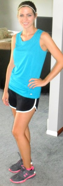 sky blue tank top with black and white running shorts