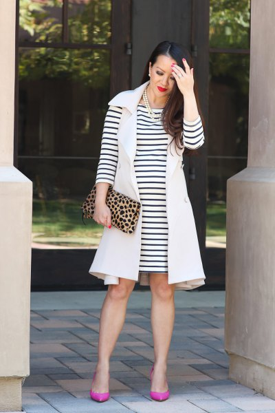 sleeveless coat with black and white striped long sleeve t shirt dress
