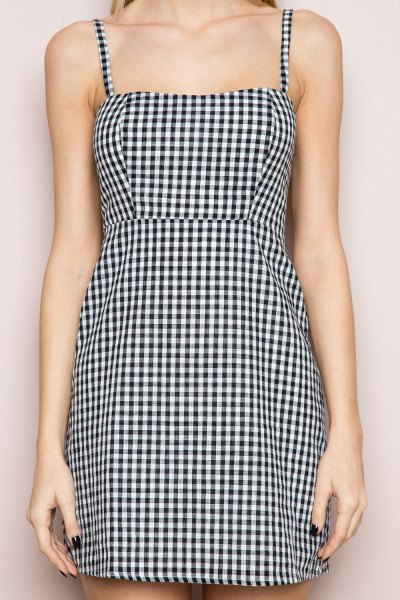spaghetti strap checkered sheath mini dress