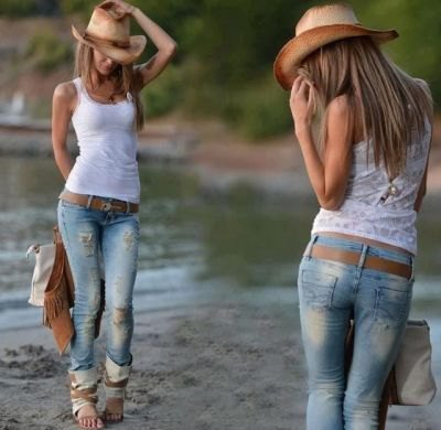 straw cowboy hat with white tank and ripped skinny jeans