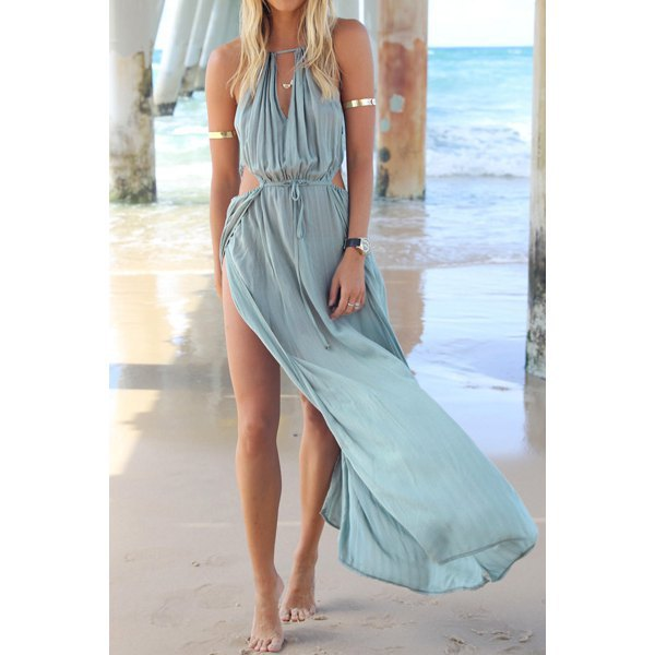 teal chiffon halter maxi high split sundress