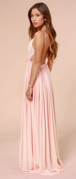 two toned backless pleated floor length dress