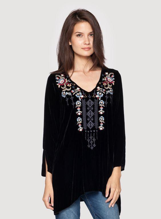 velvet tunic black