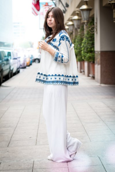 white and blue tribal printed cardigan