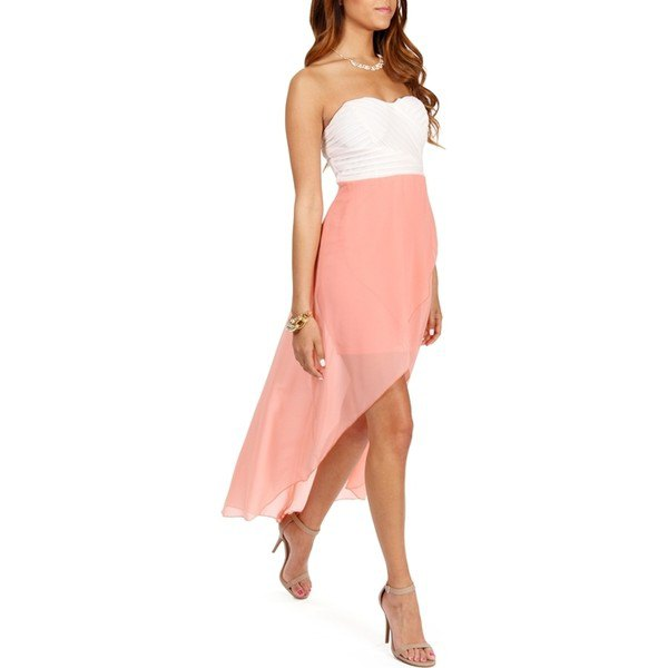 white and blush pink two toned strapless maxi dress