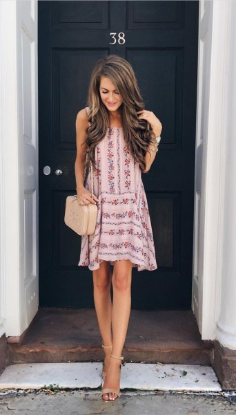 white and pink mini swing sundress