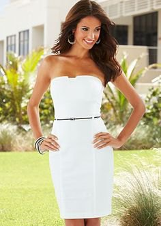 white belted tube mini bodycon dress