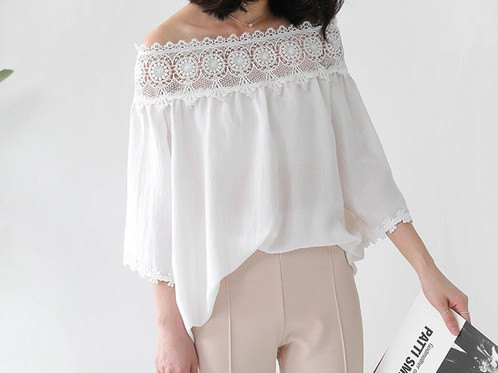 white boat neck lace blouse with pale pink pants