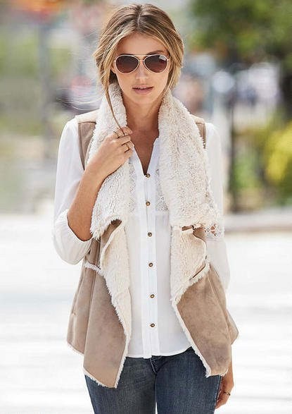 white button up lace shirt with light grey shearling vest