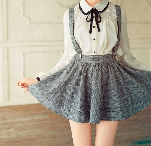 white button up round collar blouse with grey plaid suspender dress