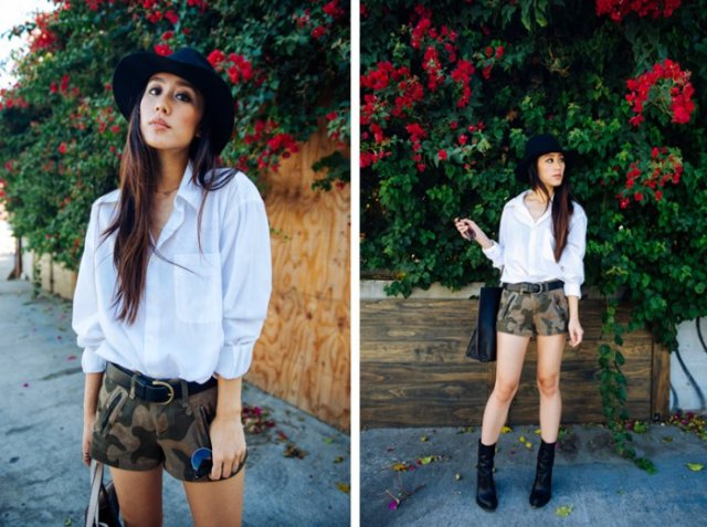 white button up shirt with camo mini shorts