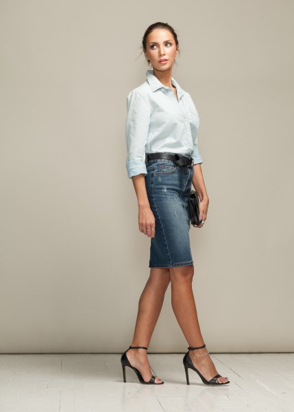 white button up shirt with greyish blue denim skirt