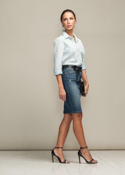white button up shirt with greyish blue denim skirt