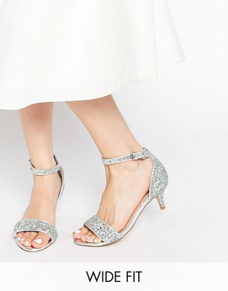 white button up shirt with maxi flared skirt and open toe sequin heels