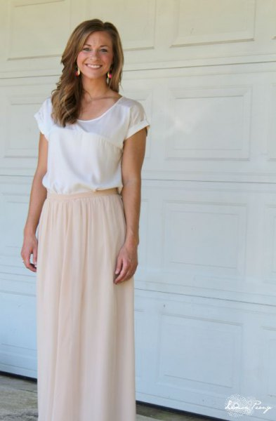 white cap sleeve silk top with pale pink elastic waist long tulle skirt