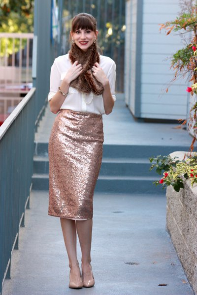 white chiffon shirt with rose gold midi pencil skirt