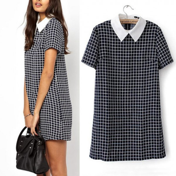 white collar short sleeve mini shirt checkered dress