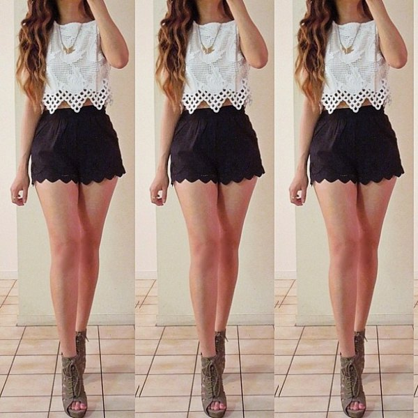 white crochet lace cropped scalloped t shirt with matching mini black shorts