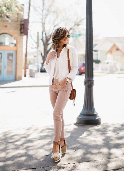 white denim jacket and nude platform heels