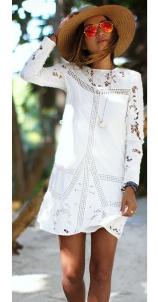 white embroidered long sleeve mini dress with straw hat