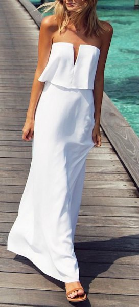 white faux two piece long summer dress