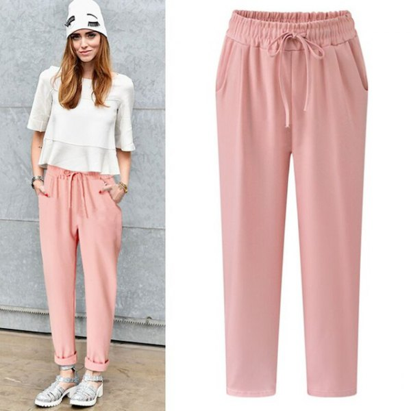 white half sleeve chiffon crop top with pale pink elastic waist cuffed pants