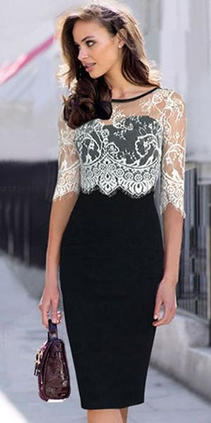 white half sleeve lace top with black bodycon midi dress