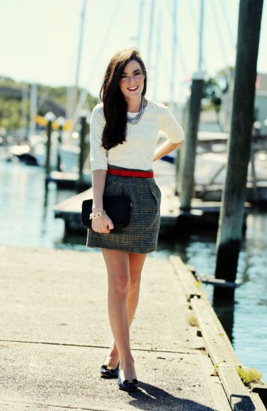 white half sleeve sweater and grey tweed mini skirt