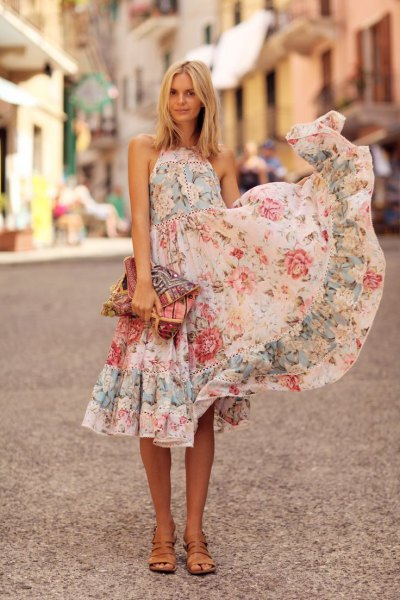 white halter fit and flare midi ruffle floral sundress