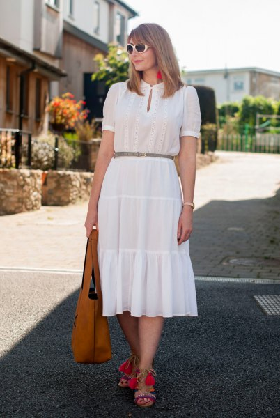 white key hole gathered waist midi ruffle dress