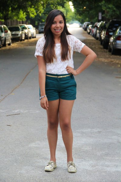 white lace blouse with purple shorts