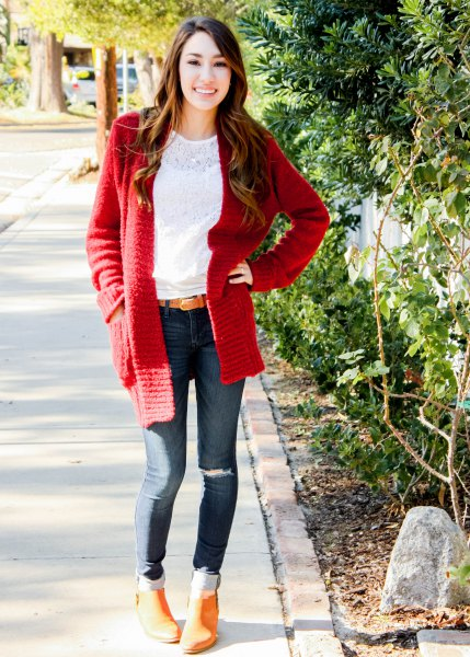 white lace blouse with red chunky cardigan