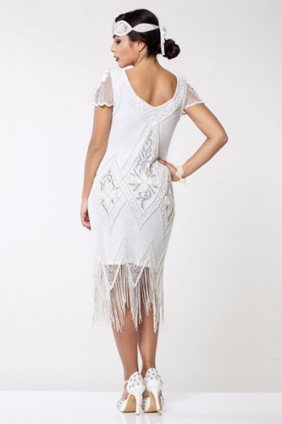 white lace cap sleeve midi flapper fringe dress