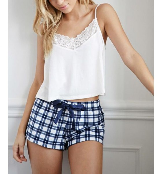 white lace cropped camisole with navy and white plaid mini shorts