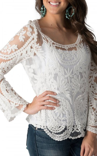white lace long sleeve top with jeans