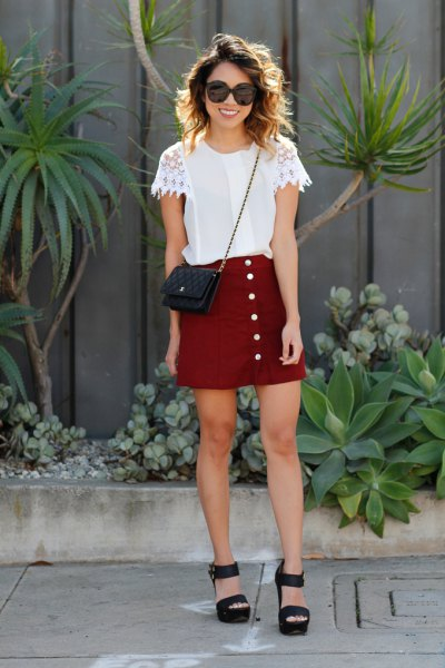 white lace sleeve chiffon tee with burgundy button down mini skirt