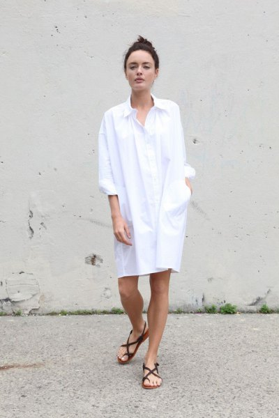 white long sleeve shirt dress with black sandals