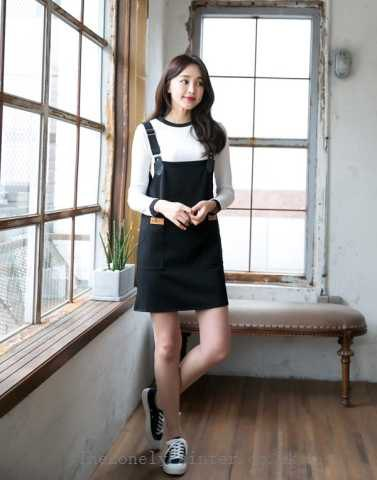 white long sleeve tee with black suspender mini shift dress