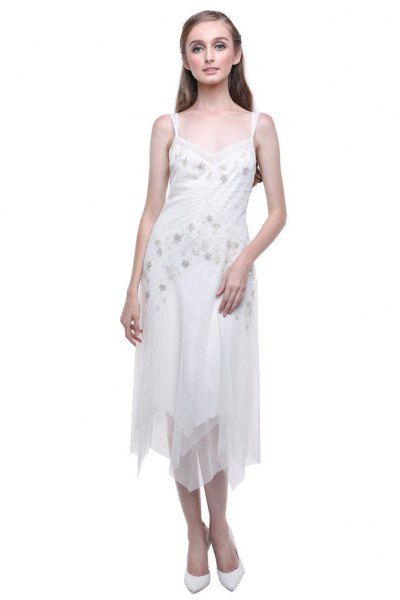 white low cut floral embroidered midi chiffon flapper dress