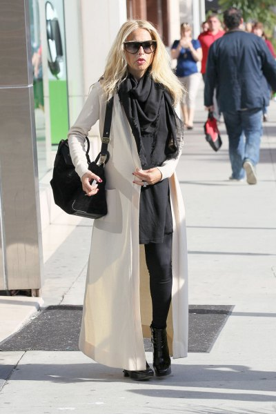 white maxi cardigan with grey shift mini dress